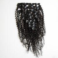 Kinky Curly Clip In Extensões Do Cabelo Para A Mulher Negra 100g / set clipe americano africano em extensões de cabelo humano