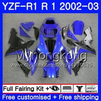Bodys voor Yamaha YZF R 1 YZF 1000 YZF-1000 YZFR1 02 03 Carrosserie 237HM.18 Black YZF R1 02 YZF1000 voorraad Blauw YZF-R1 2002 2003 Frame Frame