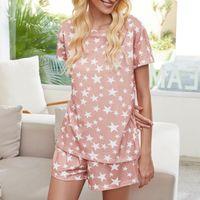 Mulheres Dois conjuntos de peças Tie Dye Impresso T e Shorts Pijamas Set manga curta Pijamas Define Loungewear