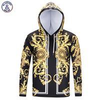 Mr.1991INC 새로운 패션 브랜드 Degin 티셔츠 남자 / 여자 모자 쓴 Tshirt 인쇄 황금 꽃 긴 소매 T 셔츠 모자