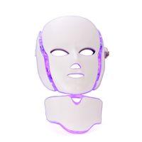 7 farben led gesichtsmaske mit hals teil heimgebrauch hautpflege pdt photon licht maschine für akne entfernung bleaching faltenentfernung