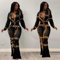 Sonbahar Tasarım Seksi 2 adet Kadınlar Seti Patchwork Leopar Bluz Tops Ve Uzun Geniş Bacak Pantolon Kıyafetler