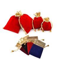 Мягкий бархатный мешок подарка drawstring сумки черный золотой тон свадебные упаковка подарков сумка Pouch7x9 9х12 12x15cm