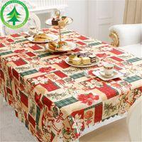 Año nuevo navidad mantel de lino cubierta de tabla a prueba de polvo x-mas cena mantel Home Party Decor lino paño FJ407
