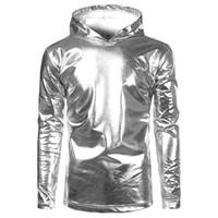 Marken-T-Shirt Männer Kapuzen-T-Shirt Homme Shiny Nachtclub lange Hülse der Männer-T-Shirts Beiläufiges Silber Metallic-Tanz-Spitze T Shirts Größe S-2XL