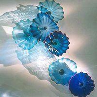 Мурано синие лампы пластины современные ручной работы взорванные света искусства деко настенный цветок стеклянные висячие плиты