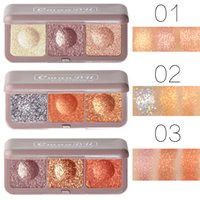 Cmaadu 3 Colors Soft Earth Color Shadow Metallic Glitter Eye Shadow Pallete Waterproof Shimmer Eye Makeup Cosmetic Maquillajes