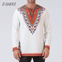 E-BAIHUI 2019 الرجال الملابس الربيع قميص الاجتماعي الأفريقي ترانديشونال طباعة الخامس الرقبة عارضة قميص الرجال الأفريقية يتأهل الملابس أعلى T-FZ