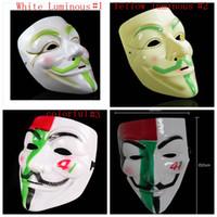 V máscara de la venganza de Halloween máscara de miedo luminoso cadera vestido de lujo del partido de la cara llena de vestuario Hop Máscaras Cosplay Prop Anónimo GGA2752