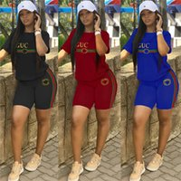 Luxury Womens Designer t-shirt 2 pezzi Shorts Set Tuta a righe Girocollo Top Shorts Pantaloni Summer Brand Outfit Trendy Streetwear C6608