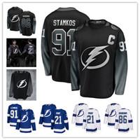 2019 New Third Black 86 Nikita Kucherov Jersey 91 Steven Stamkos 21 Brayden Point Men Tampa Bay Lightning Hockey Jerseys Blu
