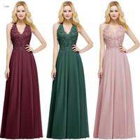 Polvoriento pink encaje apliqueado con cuentas a-line vestidos de dama de honor barato en V cuello de espalda backless baile vestido de noche formal regulador de invitados de boda CPS912