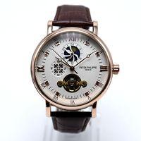 제네바 럭셔리 브랜드 라운드 가죽 tourbillon 자동 기계식 망 시계 Dropshipping 날짜 날짜 뼈대 로마 디지털 남자 시계 선물