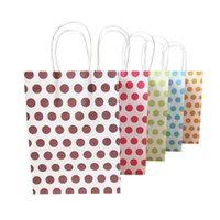 Kol Renkli Dot 16x22cm Düğün Doğum Parti ile 50pcs / lot Kağıt Hediyelik Çanta Hediye Moda Dekorasyon Çanta Ambalaj Favor