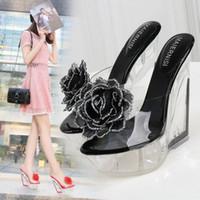 FeiYiTu Mulheres 10CM Chinelos Peep toe verão PVC sapatos transparentes Lady Sandals Limpar Chinelos Slides rasos Salto Alto UE 35-44