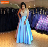 Gorgeous Blue Slim Fit Prom Dresses Long Customized Bling Bl...