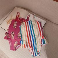 قوس قزح الطفل بنات ملابس الشاطئ بيكيني لطيف مخطط الكرتون المايوه الربيع الصيف الاستحمام الملابس أكمام قطعة واحدة المايوه 80-130 سنتيمتر