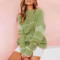 Verde Stripe Sweater Mulheres 2019 Casual solto Jumpers Outono Oversized manga comprida Jumpers Vintage O Neck Sweater
