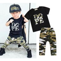 Baby Camouflage outfits boys letter print top+ Camouflage pan...