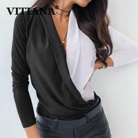 VITIANA Kadınlar Casual şifon Bluz İlkbahar 2020 Kadın Uzun Kollu V-Yaka Patchwork Siyah Parti Bluzlar Femme Zarif Top Tops