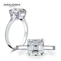 AINUOSHI Argent 925 3.0 CT Asscher Solitaire Bague de fiançailles diamant Simulé femmes mariage Bagues en argent Bijoux