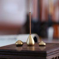 Forma de Gota de água Incenso Titular da Vara de Bronze Pequeno Incensário Acessórios de Cobre Mini Incenso Vara Titular Home Decor ZC0707