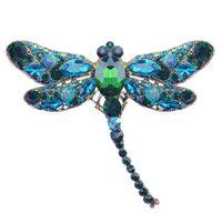 Özgünlük elmas yusufçuk broş Alaşım Elektrolizle Böcek kadın broş elbise aksesuarları Parçaları Ürün
