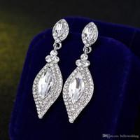 Cristales brillantes diamantes de imitación de moda pendientes de gota largos pendiente para las mujeres joyería nupcial de la boda regalo para las damas de honor BW-012