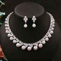Cubic Zirconia broca da pérola redonda Nobres delicados nupcial Colar Pingente Stud brincos acessórios do casamento jóias para as mulheres
