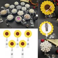 Perles strass soleil Fleurs en feutre Embroideried Bijoux Accessoires Badge en métal rétractable bobine ID clé Carte clip anneau