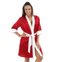 Damen Satin Silk Cardigan Sexy Kontrastsaum gestreifte Badekleid Schlaf Sleepwearrobe Femme Bademantel Pyjamas Bademäntel Nightgown