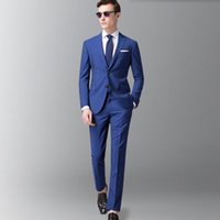 Custom Made Blue Men Suits Wedding 3 Pieces Casual Groom Tux...