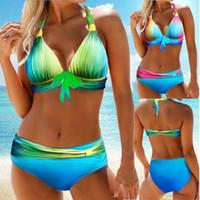 Aprilass Brand Swimwear Donne Gradiente Blu Costume da bagno Plus Size 2XL Tankini Tankini a vita bassa Parte inferiore 2PCS Bikini Set ritaglio posteriore Beachwear
