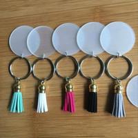 Creative KeyRing 4cm Disque vierge avec tennissures vinyle à glands en daim de 3cm Disponible à disque en acrylique clair monogrammé Tassel Keychain LXL911Q