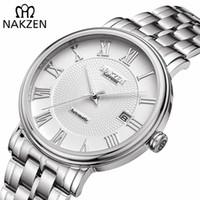 NAKZEN Homens clássico Automatic Relógios Mecânicos Marca de luxo de aço inoxidável Man Relógio de pulso Relógio Relógio Masculino Miyota 9015 Y200414