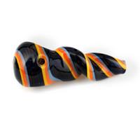 4 polegadas espiral torcido listras coloridas Colher de tubulação Pipes prémio fumar maconha Pieces para uso tabagismo