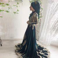 Dunkelgrün Eine Linie Muslime Brautkleider Perlen Quaste Gold Spitze Arabisch Türkische Hochzeitskleider Sweep Zug Satin Roben de Mariée