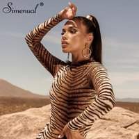 Simenual Sexy Fashion Zebra Print Women Maxi Long Sleeve 201...