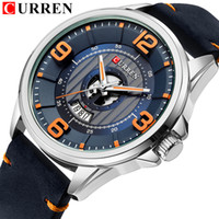 Mens Watches Top Brand CURREN Leather Wristwatch Analog Army Military Quartz Time Man Waterproof Clock Fashion Relojes Hombre