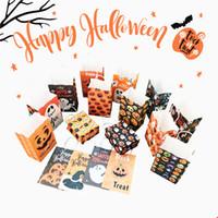 21 * 13 * 8 cm / 8.3 * 5.1 * 3.2 polegadas Saco de Papel Kraft de Halloween Com Alça Pacote de Presente Sacos de Doces de Biscoito Fantasma de Abóbora para a Festa do Festival JK1909