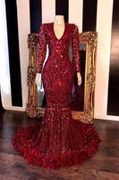 Bourgogne manches longues plumes sirène Robes de bal 2020 col en V profond Sparkling Paillettes dentelle Robes de soirée Party Robe de cérémonie BC3676