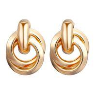 Pendientes de botón de oro color plata para mujer Pendientes llamativos circulares mixtos Pendientes pequeños creativos Envío de la gota
