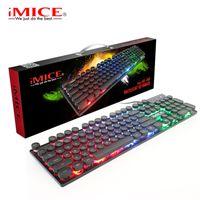 IMICE AK-800 teclado mecânico 104 Chaves RGB retroiluminado USB teclado com fio de jogo silicone teclados para computador portátil PC desktop