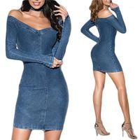 Kleider Mode Womens Party-Kleid-trägerlose Entwerfer-Frauen Dresse gewaschenem Denim Verein Slim Fit Sexy Langärmlig mit V-Ausschnitt, figurbetonten