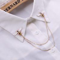 Sevimli Arı Vintage Broşlar Pimleri Hayvan Alaşım Metal Zincir Broş Broches Adam Takım Elbise Gömlek Yaka Püskül Yaka Pin Kadınlar Takı Hediye