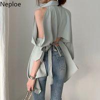 Neploe Kadınlar Bluz Yeni Lady Hollow Out Turn Down Yaka Moda Gömlek blusa Kapalı Omuz İlkbahar Yaz 2020 Katı Tops 1A822