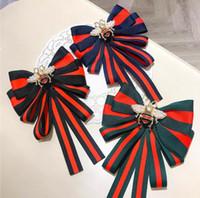 2020 novo laço arco flor versão coreana das listras abelha estilo faculdade grandes gravata borboleta camisa broche de pino uniforme acessórios mulheres