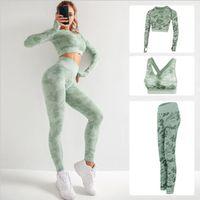 3pcs sin fisuras conjunto de yoga fitness Trajes deportivos GYM Paño de yoga de manga larga camisas de talle alto Correr Leggings pantalones de entrenamiento camisas V200415