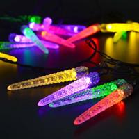 LED Icicle Güneş Enerjili Dize Işıklar, 16ft 20LED Peri Noel Işıkları Dekoratif Aydınlatma Açık Dekor, bahçe, Veranda