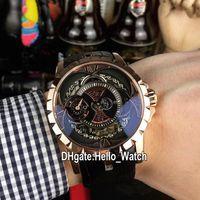 جديد Excalibur 46 Rose Gold Case RDDBEX0367 التلقائي رجالي ووتش الأسود الهيكل العظمي الطلب البني الجلود حزام الرياضة الساعات hello_watch 7 اللون